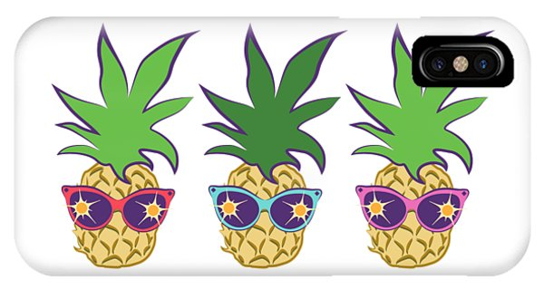 IPhone Case featuring the digital art Summer Pineapples Wearing Retro Sunglasses by MM Anderson
