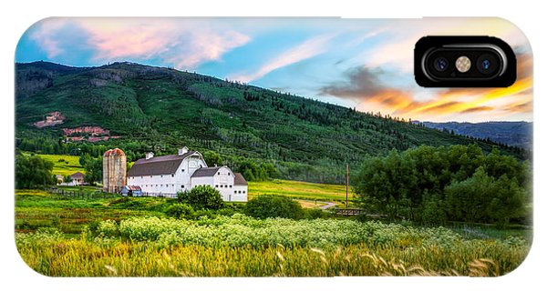 Summer Sunset At Park City Barn IPhone Case