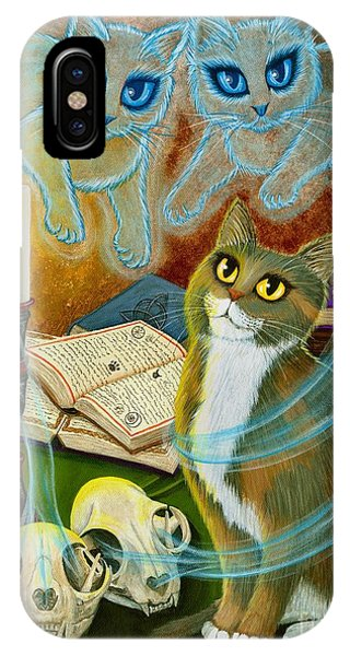 Summoning Old Friends - Ghost Cats Magic IPhone Case