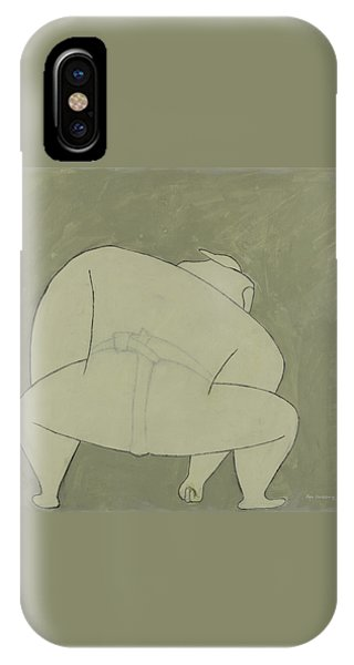 IPhone Case featuring the painting Sumo Wrestler by Ben Gertsberg