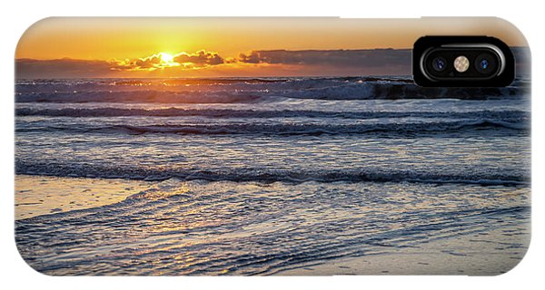 Sun Behind Clouds With Beach And Waves In The Foreground IPhone Case