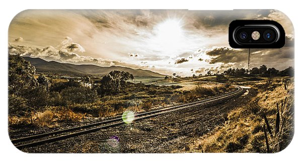 Sun Set iPhone Case - Sun Flared Railway Track by Jorgo Photography - Wall Art Gallery