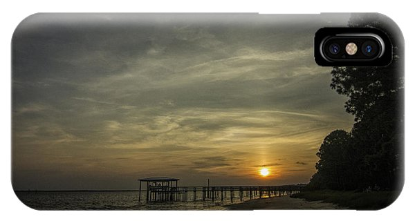 Sun Going Down Behind Dock IPhone Case