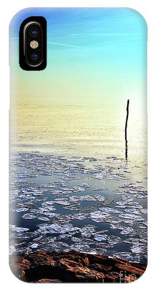 Sun Going Down In Calm Frozen Lake IPhone Case