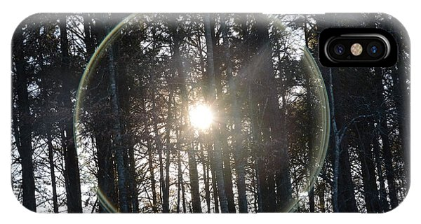 Sun Or Lens Flare In Between The Woods -georgia IPhone Case