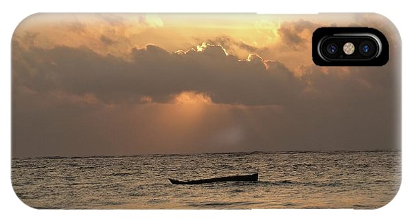Exploramum iPhone Case - Sun Rays On The Water With Wooden Dhows by Exploramum Exploramum