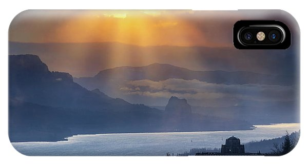 iPhone Case - Sun Rays Over Columbia River Gorge During Sunrise by David Gn