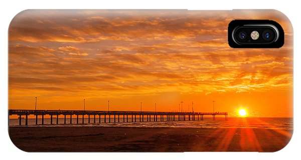 Sun Rising At Port Aransas Pier IPhone Case