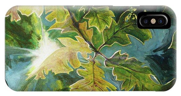 Sun Through Oak Leaves IPhone Case