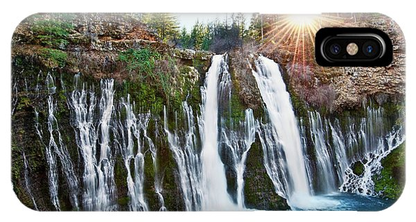 California iPhone Case - Sunburst Falls - Burney Falls Is One Of The Most Beautiful Waterfalls In California by Jamie Pham