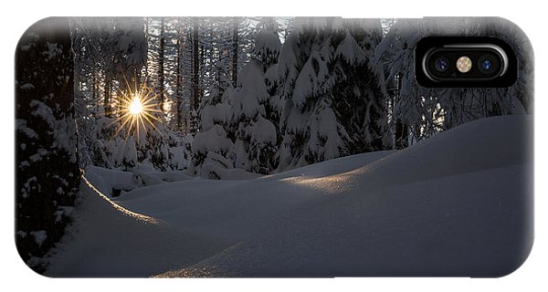 Sunburst In Winter Fairytale Forest Harz IPhone Case