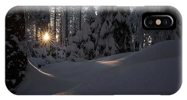 Sunburst In Winter Fairytale Forest Harz IPhone Case