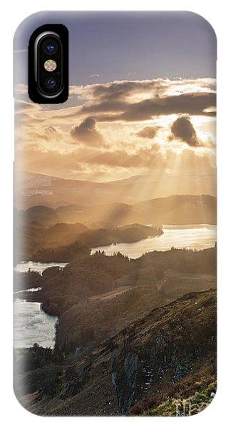 Loch Ard iPhone Case - Sunburst Over Loch Ard 2 by Rod McLean