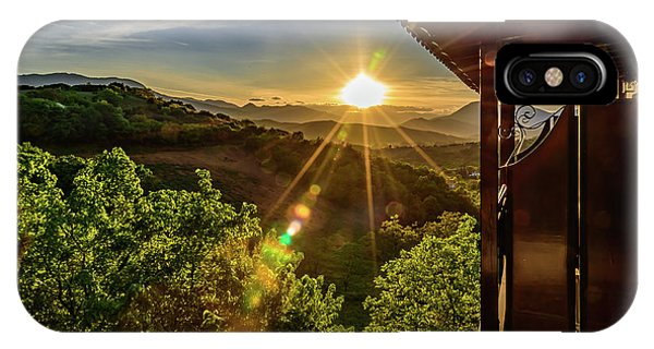Sunburst View From Dellas Boutique Hotel Near Meteora In Kastraki, Kalambaka, Greece IPhone Case