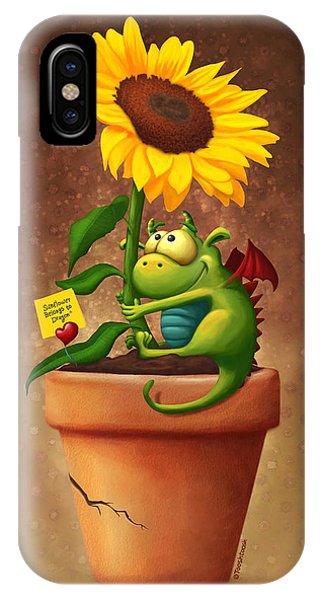 Sunflower iPhone Case - Sunflower And Dragon by Tooshtoosh