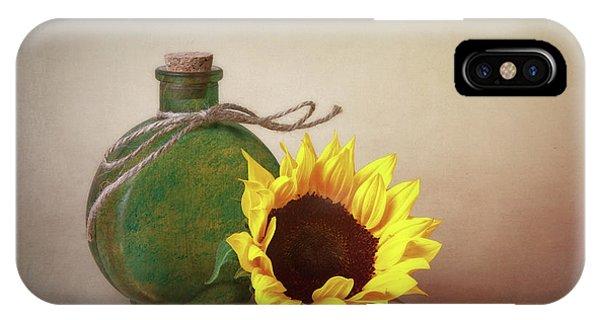 Blossom iPhone Case - Sunflower And Green Glass Still Life by Tom Mc Nemar