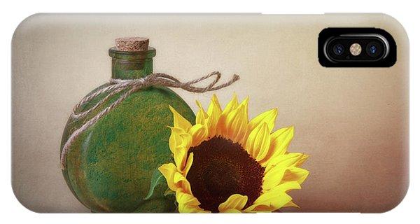 Tan iPhone Case - Sunflower And Green Glass Still Life by Tom Mc Nemar
