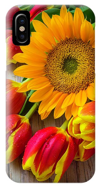 Sunflower And Tulips IPhone Case