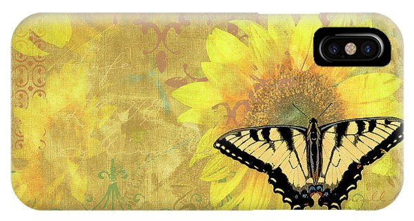 Song iPhone Case - Sunflower Butterfly Yellow Gold by JQ Licensing