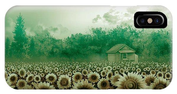 Sunflower iPhone Case - Sunflower Field Green by Bekim M