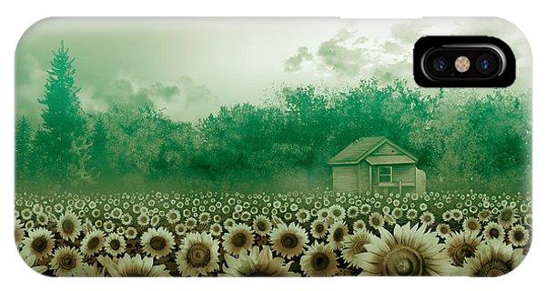 Sunflower Field Green IPhone Case