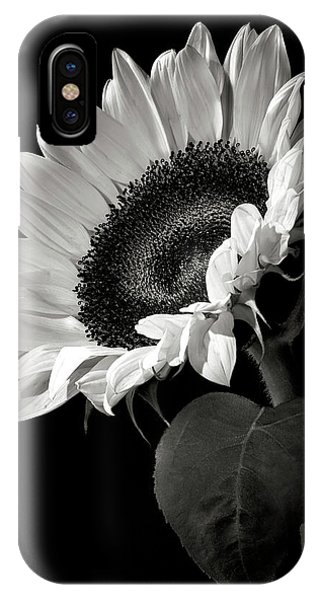 Floral iPhone Case - Sunflower In Black And White by Endre Balogh