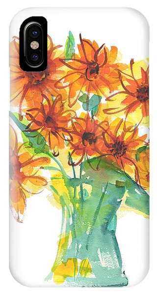Sunflower Medley II Watercolor Painting By Kmcelwaine IPhone Case