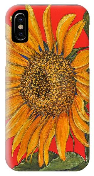 Da153 Sunflower On Red By Daniel Adams IPhone Case