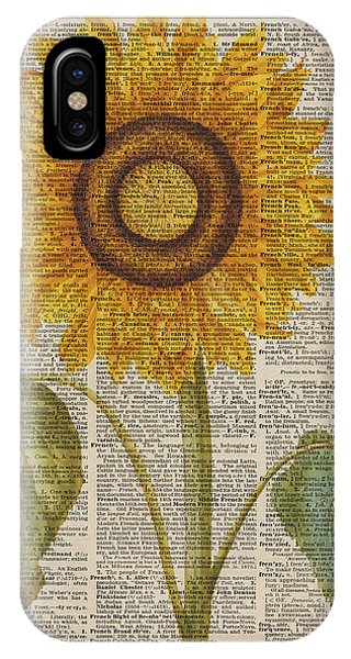 Sunflower iPhone Case - Sunflower Over Dictionary Page by Anna W