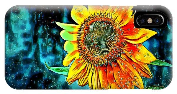 IPhone Case featuring the digital art Sunflower Rain by Pennie McCracken