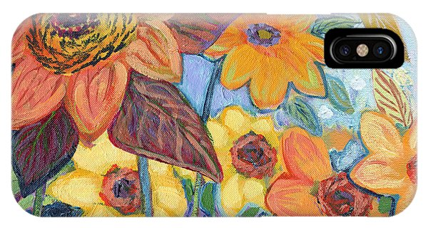 Sunflower iPhone Case - Sunflower Tropics Part 1 by Jennifer Lommers