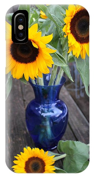 Sunflower Seeds iPhone Case - Sunflowers And Blue Vase - Still Life by Dora Sofia Caputo Photographic Design and Fine Art