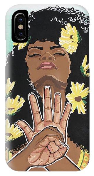 Sunflower iPhone X / XS Case - Sunflowers And Dashiki by Alisha Lewis