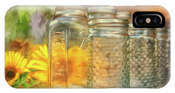 Sunflower iPhone Case - Sunflowers And Jars by Lois Bryan