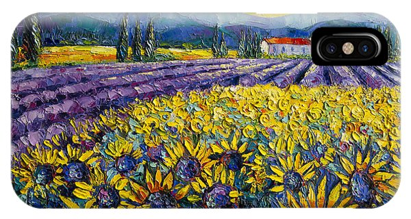 Lavender iPhone Case - Sunflowers And Lavender Field - The Colors Of Provence Modern Impressionist Palette Knife Painting by Mona Edulesco