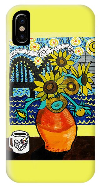 IPhone Case featuring the painting Sunflowers And Starry Memphis Nights by Christopher Farris