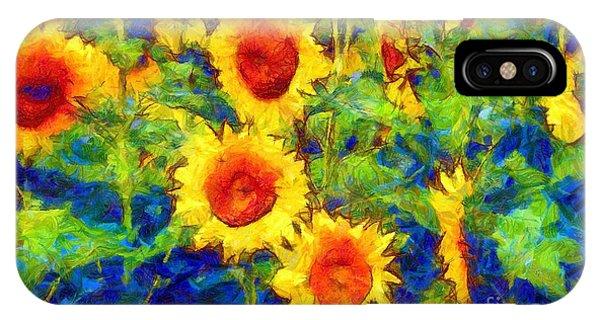 Sunflowers Dance In A Field IPhone Case