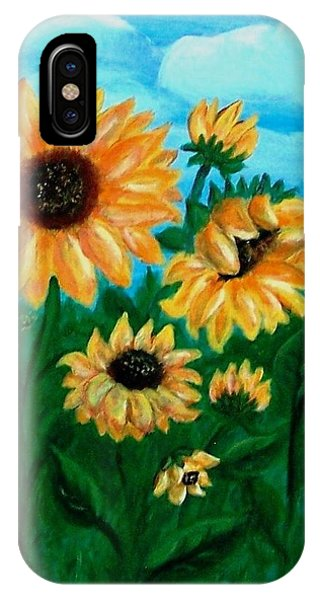 IPhone Case featuring the painting Sunflowers For Mom by Sonya Nancy Capling-Bacle