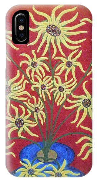 Sunflowers In A Blue Vase IPhone Case