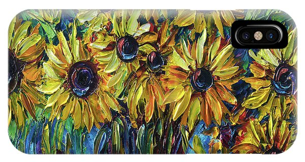 Sunflowers In A Vase Palette Knife Painting IPhone Case