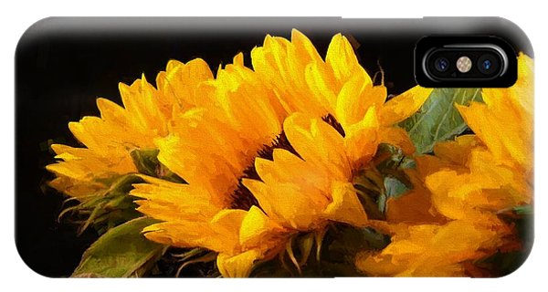 Sunflowers On A Black Background IPhone Case