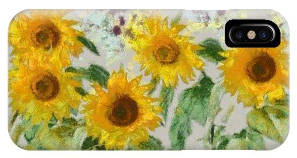 Sunflower iPhone Case - Sunflowers Wide by Edward Fielding