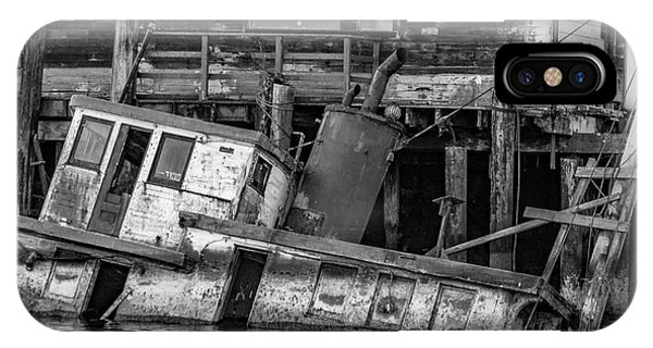 iPhone Case - Sunken Boat In Noyo Harbor In Black And White by Bill Gallagher