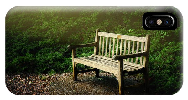Shrubs iPhone Case - Sunlight On Park Bench by Tom Mc Nemar