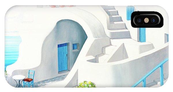 Sunlit In Santorini - Prints Of My Original Oil Painting IPhone Case