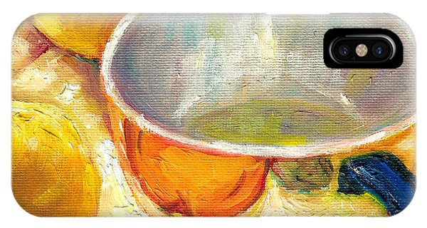 Table For Two iPhone Case - Sunlit Still Life With Cup And Two Green Pears Painting For Sale By Grace Venditti by Grace Venditti