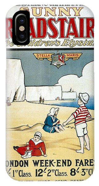 Advertising iPhone Case - Sunny Broadstairs - South Eastern And Chatham Railway - Retro Travel Poster - Vintage Poster by Studio Grafiikka