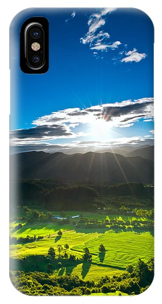 Sunrays Flood Farmland During Sunset IPhone Case