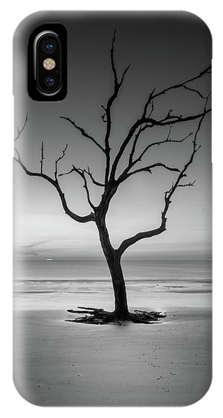 IPhone Case featuring the photograph Sunrise And A Driftwood Tree In Black And White by Greg Mimbs
