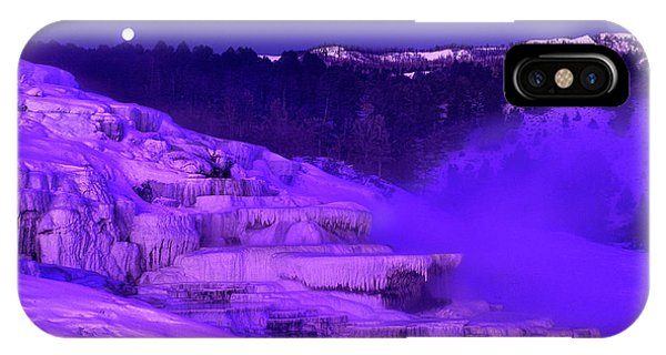 Sunrise And Moonset Over Minerva Springs Yellowstone National Park IPhone Case